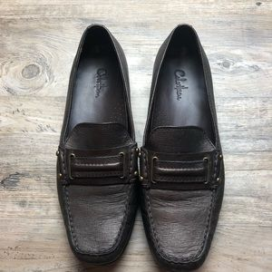 Cole haan bronze leather slip on loafers shoes